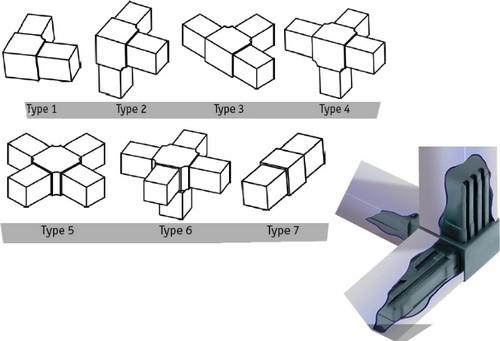 Empalmes multidireccionales para tubos cuadrados de 0 78 for Uniones para perfiles cuadrados de aluminio